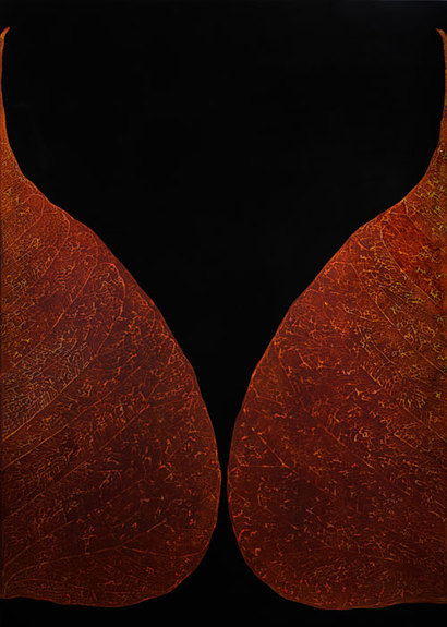 Meditaion #3: 85×120cm natural lacquer, gold leaf on wooden panel 2015